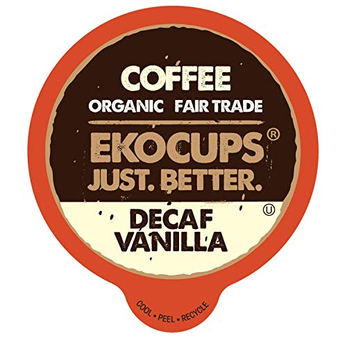 EKOCUPS Artisan Organic Decaf Vanilla, Medium Roast, in Recyclable Single Serve Cups for Keurig K-cup Brewers, 20 count