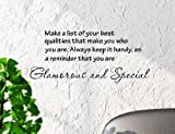 Make a List of Your Best Qualities That Make You Who You Are. Always Keep It Handy, As a Reminder That You Are Glamorous and Special 22x10 Inches Vinyl Car Sticker Symbol Silhouette Keypad Track Pad Decal Laptop Skin Ipad Macbook Window Truck Motorcycle
