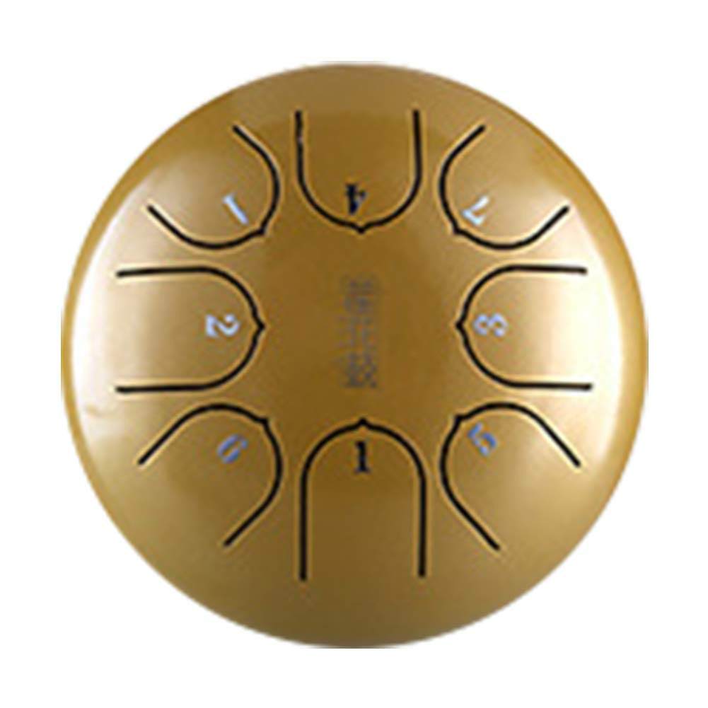 Steel Tongue Drum, 6 Inch 8 Notes Percussion with Mallets, Professional G Tune Tank Music Education Carry Instrument, Hand Pan Mini(Gold)