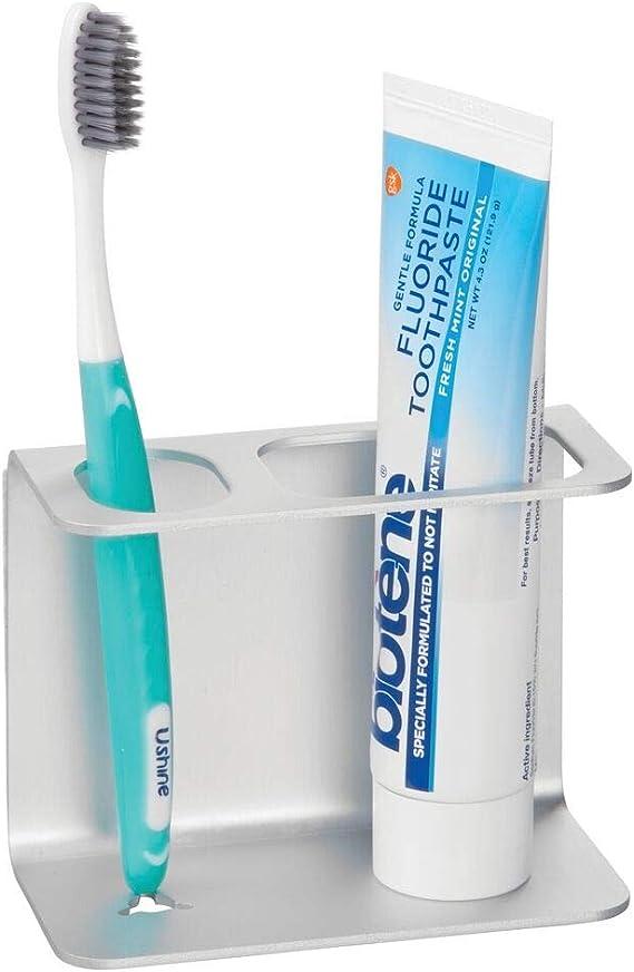 grey Porta cepillo de dientes,Soporte para cepillo de dientes de pared para ba/ño,Se puede pegar en la pared,No es necesario golpear,Contiene una taza de enjuague bucal,Portacepillos de moda