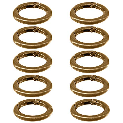 Alloy Spring Clip Carabiner (3/4 Inch, 10 Pack, Bronze) - Gate O-Ring Round Carabiner Snap Clip - Spring Key-Ring Organizing Accessory, Metal Secure Holder, Durable, Rust Proof ()