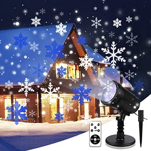 Yinuo Mirror Proiettore Luci Natale con Fiocco di Neve, Proiettore Natale Esterno ed Interno IP65 con Telecomando,Decorazioni Natalizie per la Casa,Adatto per Natale,Compleanno, Capodanno,Halloween