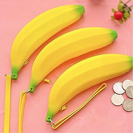 Generic 2016 de la novedad Plátano estuche amarillo color Kawaii lápiz  bolsa silicona Monedero material escolar 42c34c762928