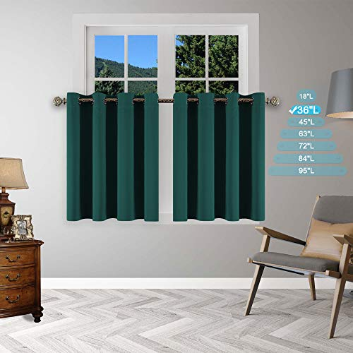 YGO Window Curtains Valances - 36 inch Length Short Blackout Drapes Light Block Tier Valances Soft Fabric Thermal Drapery Blinds Grommet Top Home Decoration, 52 x 36 in, Hunter Green, Pack of 2