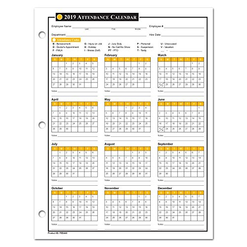 2019 Attendance Calendar - 50 Sheets/Package - On Cardstock Paper
