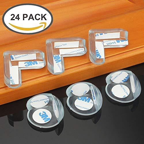 TENKEY 24 Packs Baby Safety Soft Table Desk Silicone Edge Corner Guards Cushion Protector with 3M Adhesive- L Shaped & Ball Shaped by TENKEY