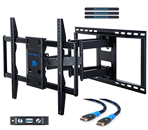Mounting Dream MD2298 Premium TV Wall Mount Bracket Fits 16, 18, 24 inch Wood Stud Spacing with Full Motion Articulating Arm for most 42-70 Inch LED, LCD and Plasma TV up to VESA 600x400mm and 132 lbs (Tv Lcd Wood Plasma)