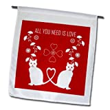 Cheap Belinha Fernandes – Love and Valentines Day – Cats, hearts and flowers celebrate love any occasion – 18 x 27 inch Garden Flag (fl_156644_2)