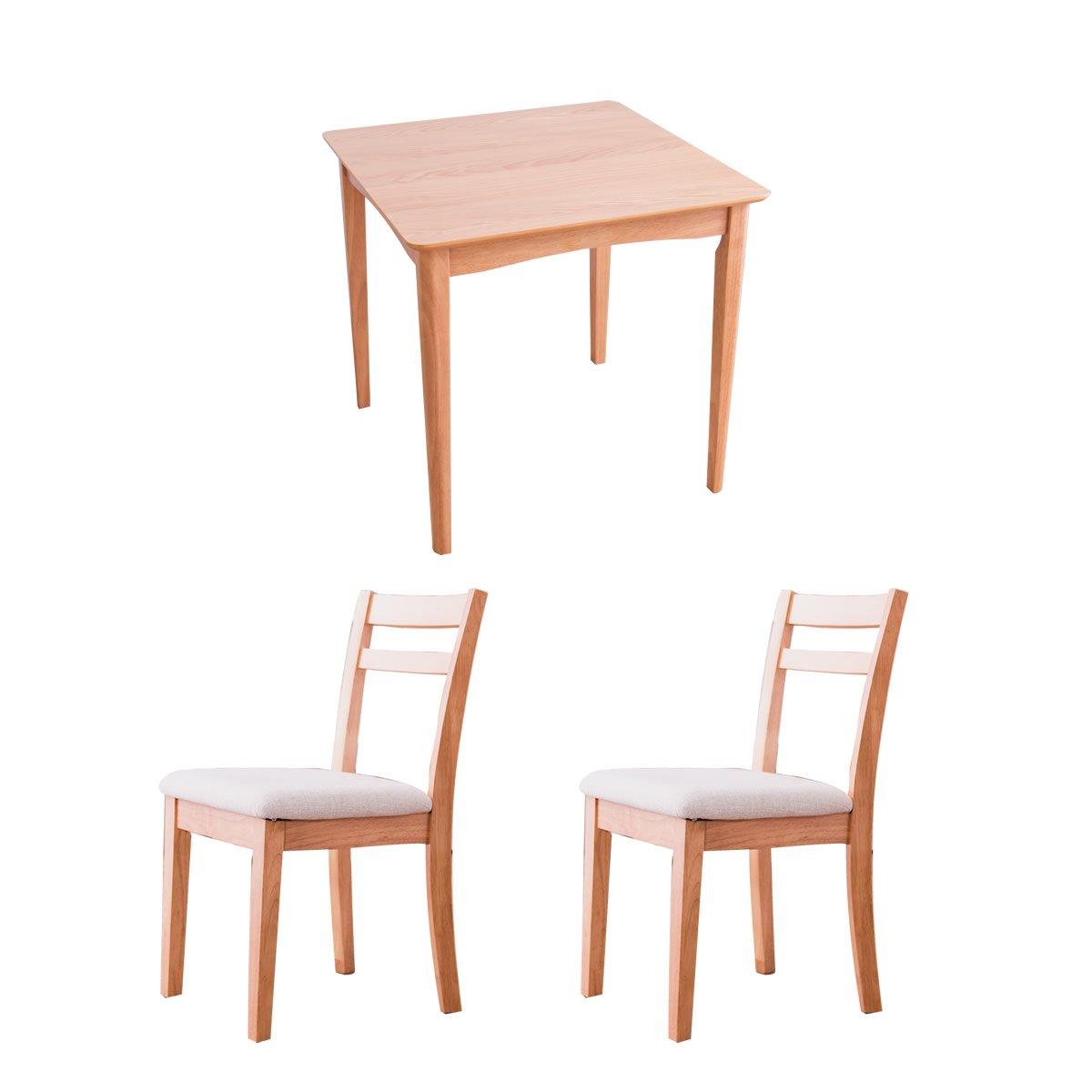 ナチュラル/ホワイト/2人用 ダイニングセット テーブル チェア 天然木 シンプル コンパクト おしゃれ 北欧風 ナチュラル B075L7QDLJ ナチュラル/ホワイト ナチュラル/ホワイト