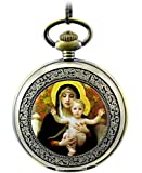 Infinite U Christianity the Virgin Mary Roman Numerals Steel Mechanical Pocket Watch