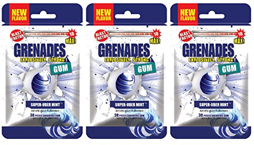 Grenades Explosively Strong Mint Gum Sugar-Free Gum Pack of 3 - Intense Gum Chew At Your Own Risk (Super-Uber Mint)