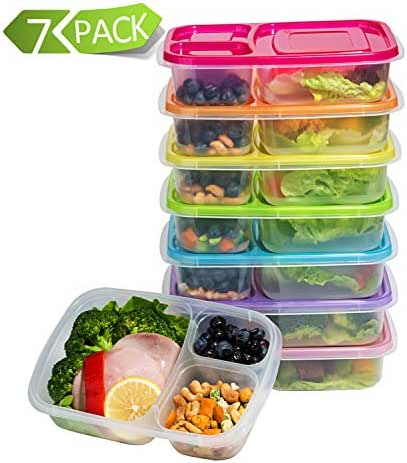 7 Pack Meal Prep Containers 3-Compartment Lunch Boxes Food Storage Containers with Lids Reusable BPA Free Plastic Bento Box
