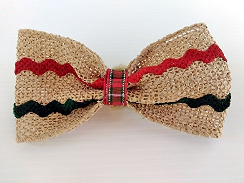 Fancy Burlap Ribbon Dog Bow Tie with Novelty Ric Rac Trim - Wrap Around the Collar Closure by puranco inc