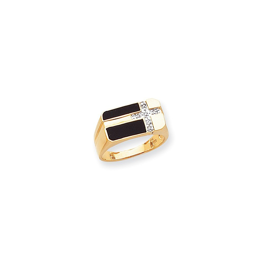 ICE CARATS 14k Yellow Gold Black Onyx Diamond Mens Cross Religious Band Ring Size 10.00 Man Fine Jewelry Dad Mens Gift Set by ICE CARATS (Image #3)