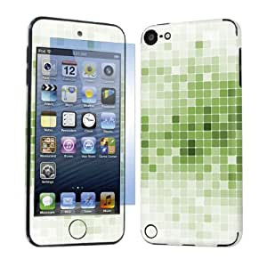 Apple iPod Touch 5 ( 5th Generation ) Decal Sticker Vinyl Skin + Screen Protector By SkinGuardz - White Green Mosaic