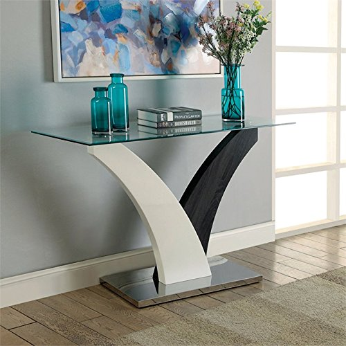 Furniture of America Tri Glass Top Console Table in White and Gray