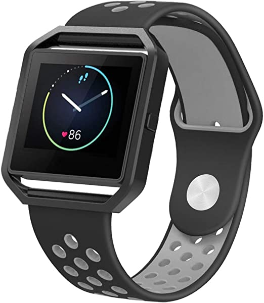 Eway Fitbit Blaze Bands for Women Men,Soft Silicone Replacement Band for Fitbit Blaze Smart Watch (Black Gray, Large)