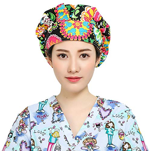 Unisex Scrub Caps Hair Cover Protective Women Men Health Care Worker Adjustable Printed Flower Pattern Reuse Washable