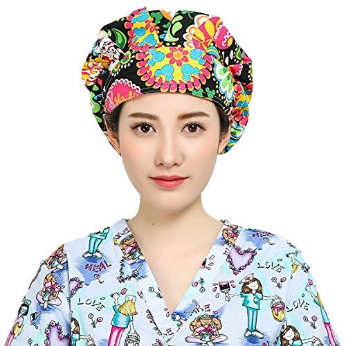 Unisex Working Hat Cotton Shower Cap Adjustable Men Women Ponytail Cute Animal Pattern