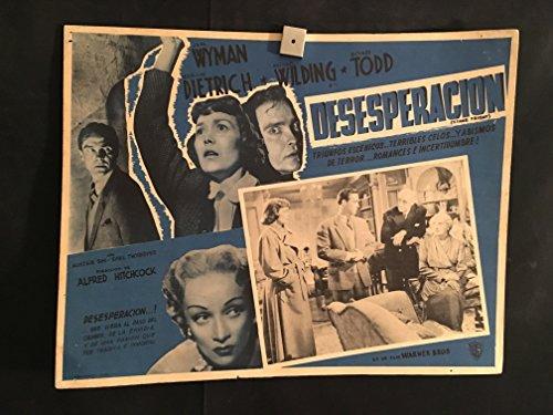 iginal Vintage Mexican Lobby Card Movie Poster, Alfred Hitchcock, Noir, Marlene Dietrich, Jane Wyman, Michael Wilding, Richard Todd ()