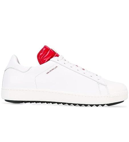 Moncler Sneakers Scarpe Uomo in Pelle Modello Joachim Bianco + Rosso (40 EU  - 6 d1a36e17974