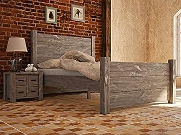 Holzbett rustikal  Holzbett Rustikal 30 massiv grau - Abmessung: 180 x 200 cm: Amazon ...