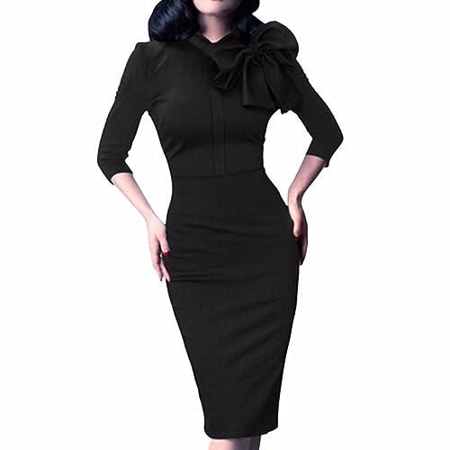OL Women 3/4 Sleeve Back Zipper Bowknot Solid Slim Knee Length Pencil Dresses