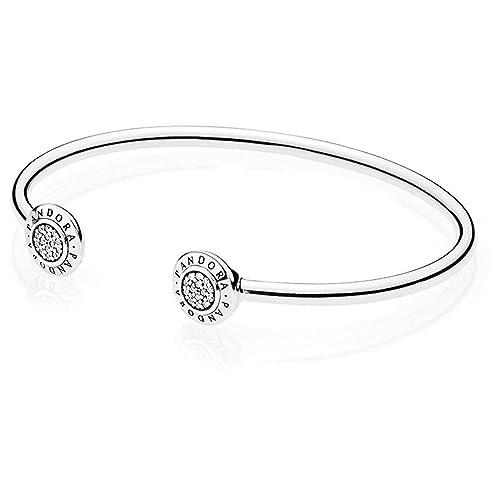 Pandora Women s Signature Open Silver Bangle – 590528CZ-1