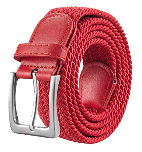 Silky Toes Canvas Elastic Fabric Woven Stretch Multicolored Braided Belts For Men and Woman (RED, Waist 37-42 (L)) ()