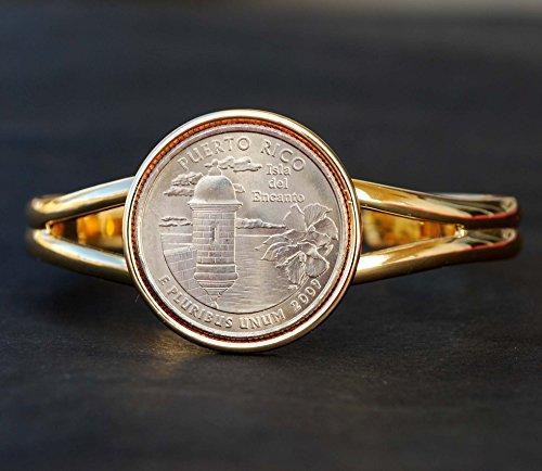 US DC & US Territories 2009 The Puerto Rico Quarter BU Unc Coin Gold Plated Cuff Bracelet - Beautiful