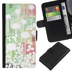 All Phone Most Case / Oferta Especial Cáscara Funda de cuero Monedero Cubierta de proteccion Caso / Wallet Case for Sony Xperia Z3 D6603 // Art Light Bright Minimalist Green