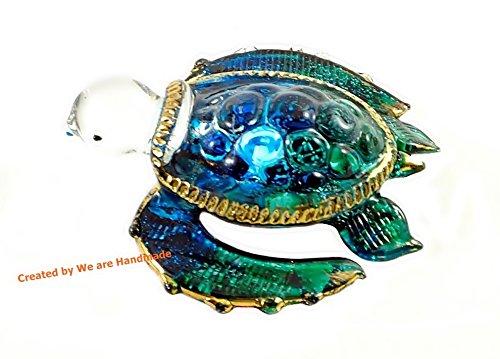 Glass Figurine - Handmade Mini Ocean Blue Sea Turtle Art Art Glass Blown Sea Animal Figurine - Model Y2016