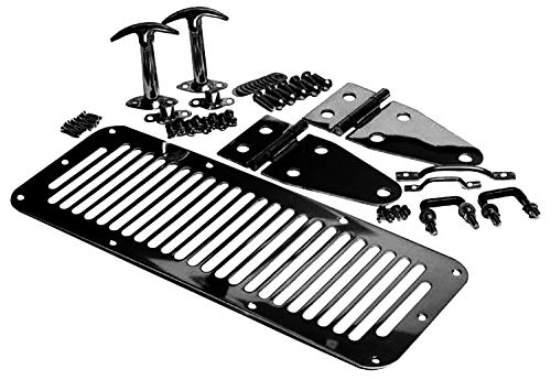 RAMPAGE PRODUCTS 7699 Black Complete Hood Kit (Hood Stops, Hinges, Vent, Footman Loop & Windshield Tie Downs) for 1978-1995 Jeep CJ & Wrangler YJ