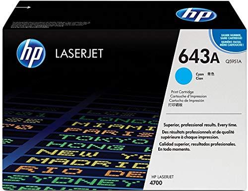Hewlett Packard Q5951A OEM Toner - HP 643A Color LJ 4700 Series Cyan Original LaserJet Toner Cartridge (10000 Yield) (80/Pallet)
