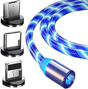 Top-Longer Cable de Carga USB Magnético con Luz LED de Flujo Visible, 3 En 1