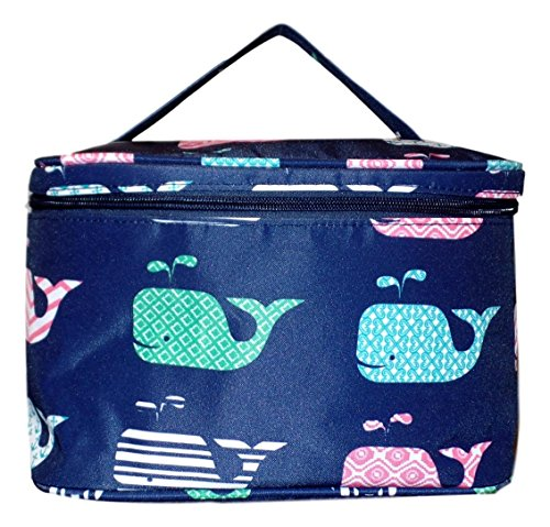 Fashion Print Soft Case Cosmetic Bag Can be Personalized or Monogrammed (Navy Whale)