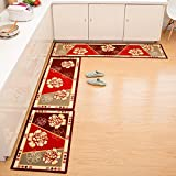 Seamersey Home and Kitchen Rugs 2 Pieces 4 Size Decorative Non-Slip Rubber Backing Doormat Runner Area Mats Sets