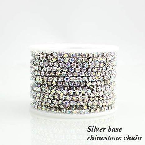 1 Roll 10 Yards Crystal AB Rhinestone Trim Cup Chain Sewing Craft Silver Base Crystal AB, SS16 4mm