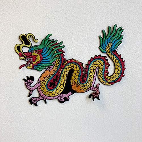 Colorido tatuaje chino dragón hierro coser sobre parche bordado ...