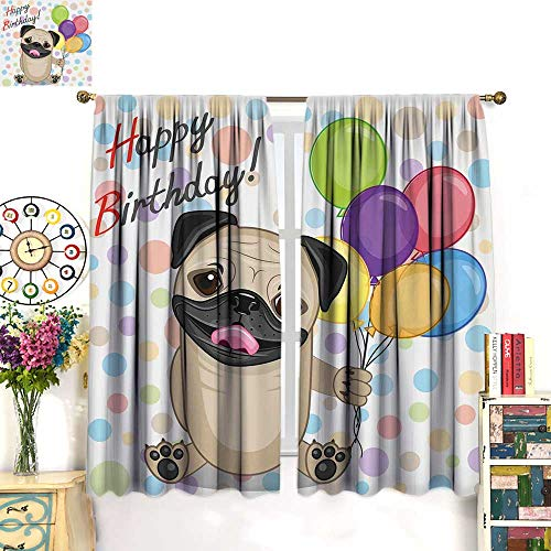 Kids Birthday Blackout Curtain Animal Cute Dog Smiling Pug with Party Balloons Greeting Card Inspired Design Waterproof Window Curtain Multicolor W72 x L63 inch
