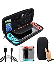 LINKPAL Nintendo Switch Accessories Bundle, Black Carry Case for Nintendo Switch Console, USB Charging Cable, Comfort Grip Clear Case