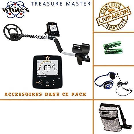 White s Treasure Master - Detector de metales, incluye casco, auriculares y bolsa