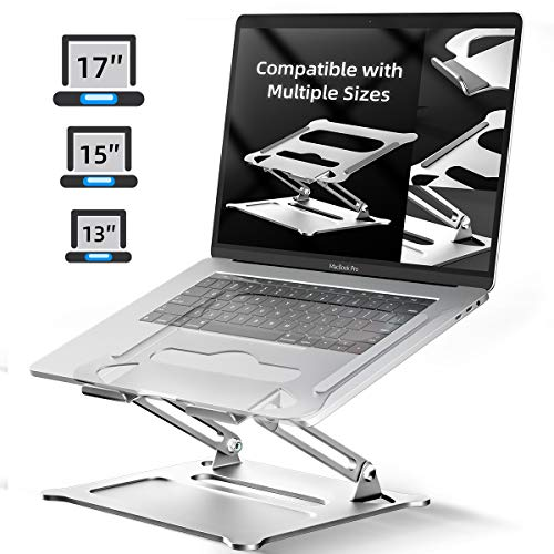 Laptop Stand Notebook Foldable Holder, Ergonomic Adjustable Ventilated for MacBook Air Pro, Dell, HP, Lenovo Aluminum Up to 17