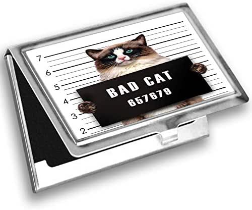 Ambesonne Animal Card Holder, Jail Kitty Under Arrest, Metal Card Wallet