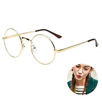 69713bb2af2 Willtone Retro Roung Metal Frames Glasses Claer Lens Glass Vintage Classic  Eyewear for Women Men Unisex Non Prescription  Amazon.co.uk  Sports    Outdoors