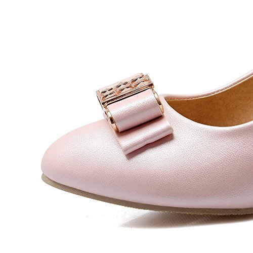 AllhqFashion Damen Eingelegt Weiches Material Mittler Absatz Ziehen auf Spitz Zehe Pumps Schuhe Pink
