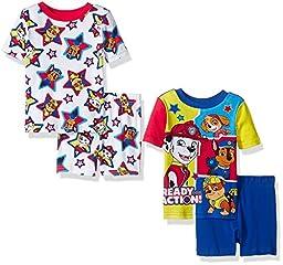 Nickelodeon Toddler Boys\' Paw Patrol Cotton 4-Piece Pajama Set, Blue/Red, 4T