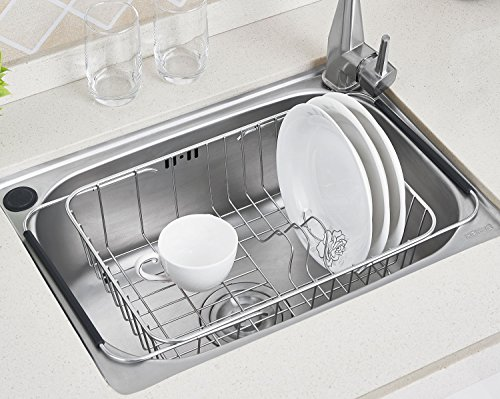 TESOT Adjustable Over Sink Dish Rack Stainless Steel Dish Dr