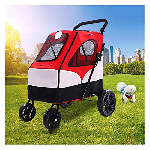 - GWM Backpacks Pet Stroller, Oxford Fabric Fold Large Space Can Carry 55KG Large and Small Dogs Four-Wheel Buggy