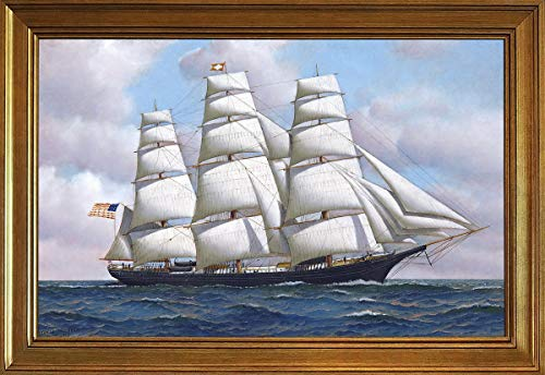 Cloud Flying Ship - Berkin Arts Classic Framed Antonio Jacobsen Giclee Canvas Print Paintings Poster Reproduction(The American Clipper Ship Flying Cloud at Sea Under Full) #JK